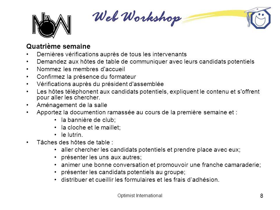 Web Workshop Optimist International 8 Quatrième semaine Dernières vérifications auprès de tous les intervenants Demandez aux hôtes de table de communi