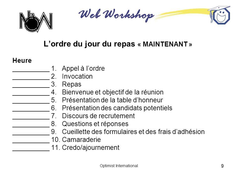 Web Workshop Optimist International 9 Lordre du jour du repas « MAINTENANT » Heure __________ 1. Appel à lordre __________ 2. Invocation __________ 3.