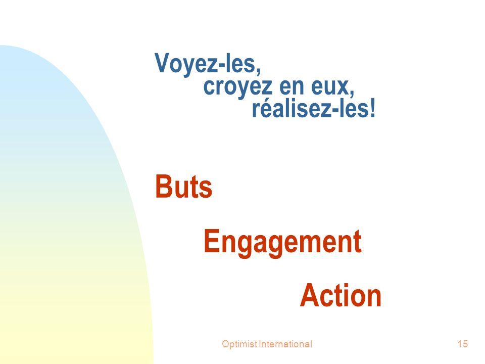 Optimist International15 Voyez-les, croyez en eux, réalisez-les! Buts Engagement Action