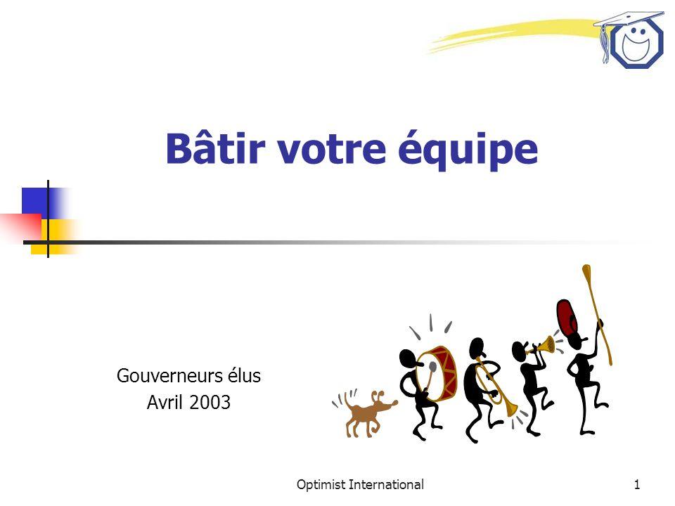 Optimist International1 Bâtir votre équipe Gouverneurs élus Avril 2003