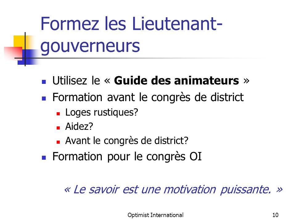 Optimist International10 Formez les Lieutenant- gouverneurs Utilisez le « Guide des animateurs » Formation avant le congrès de district Loges rustiques.