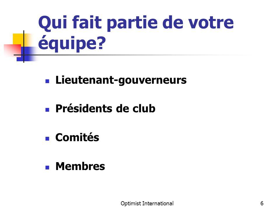 Optimist International7 Lieutenant-gouverneurs La clé de votre succès Votre comité exécutif La base de votre district