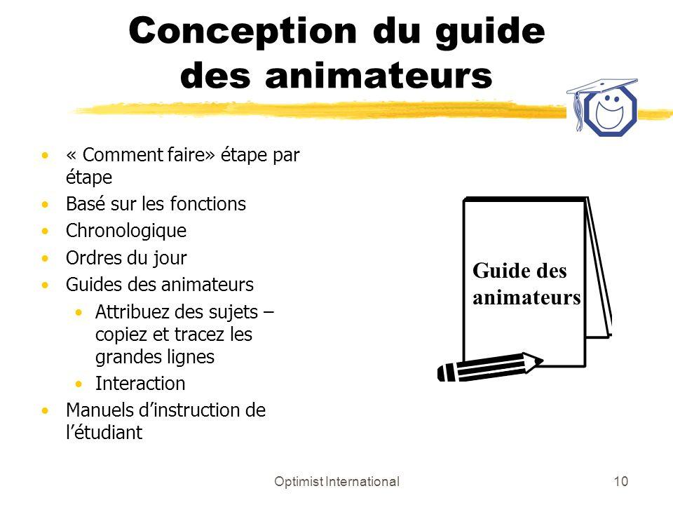 Optimist International10 Conception du guide des animateurs « Comment faire» étape par étape Basé sur les fonctions Chronologique Ordres du jour Guide