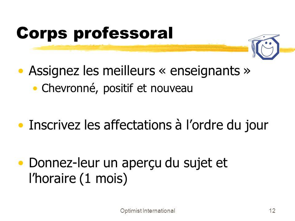Optimist International12 Corps professoral Assignez les meilleurs « enseignants » Chevronné, positif et nouveau Inscrivez les affectations à lordre du