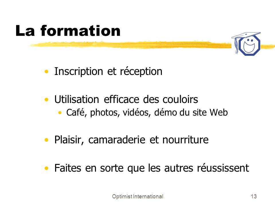 Optimist International13 La formation Inscription et réception Utilisation efficace des couloirs Café, photos, vidéos, démo du site Web Plaisir, camar