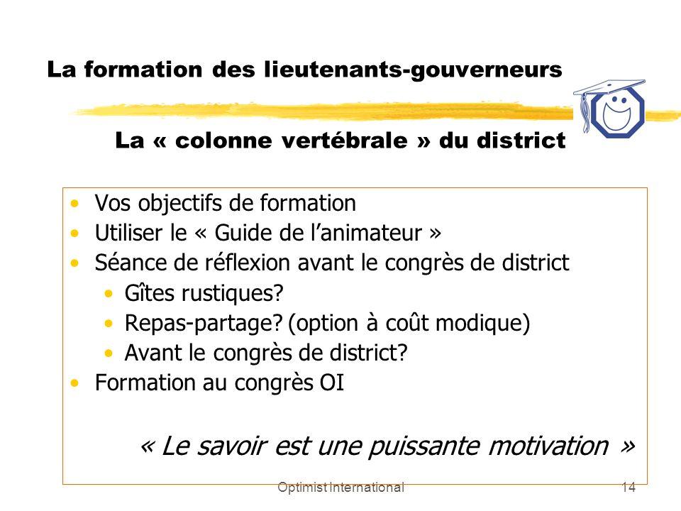 Optimist International14 La formation des lieutenants-gouverneurs La « colonne vertébrale » du district Vos objectifs de formation Utiliser le « Guide