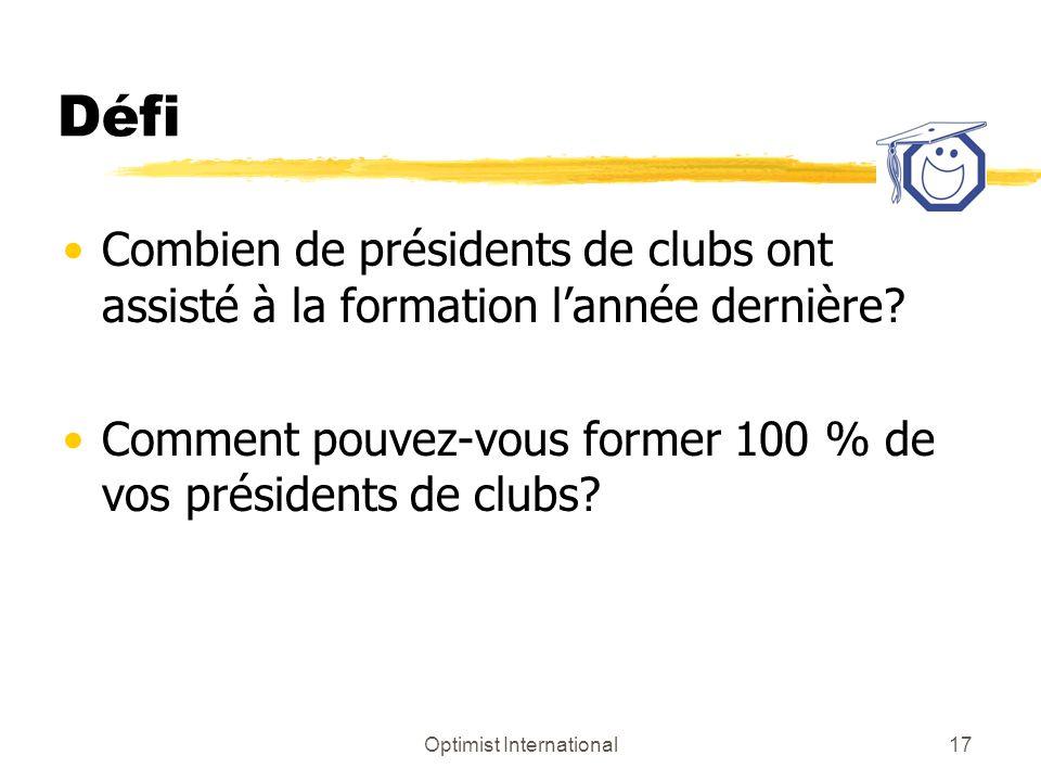 Optimist International17 Défi Combien de présidents de clubs ont assisté à la formation lannée dernière? Comment pouvez-vous former 100 % de vos prési