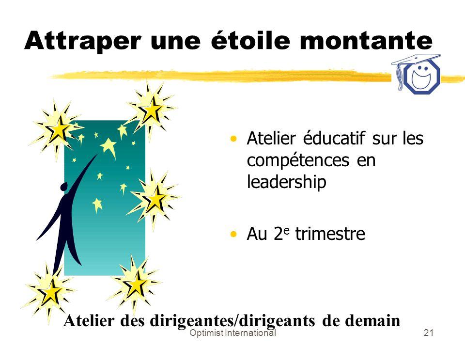 Optimist International21 Attraper une étoile montante Atelier éducatif sur les compétences en leadership Au 2 e trimestre Atelier des dirigeantes/diri