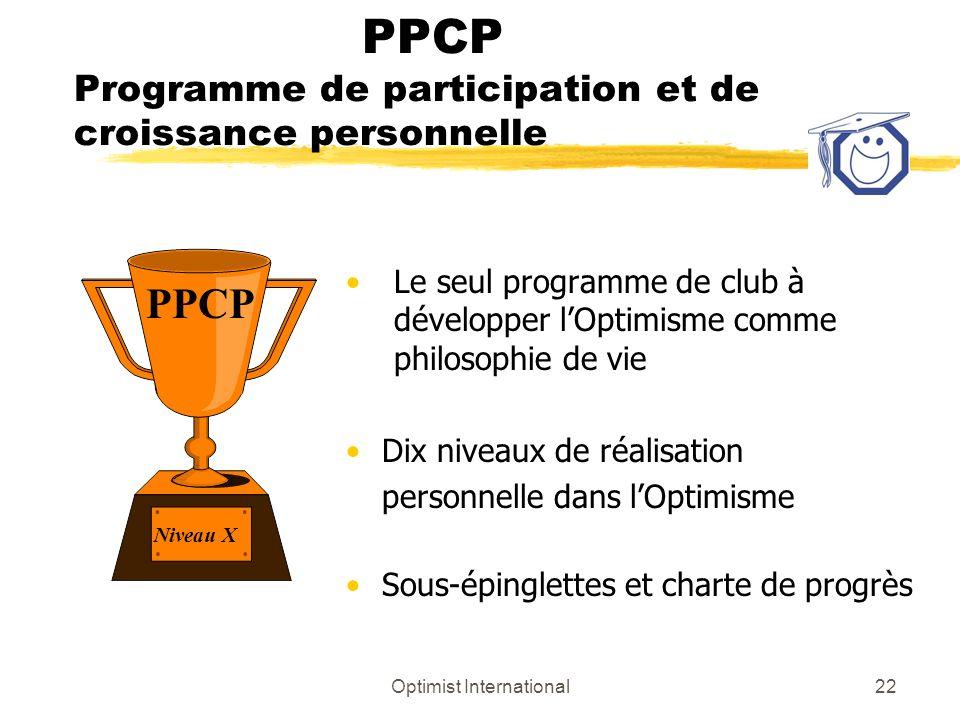 Optimist International22 PPCP Programme de participation et de croissance personnelle Le seul programme de club à développer lOptimisme comme philosop