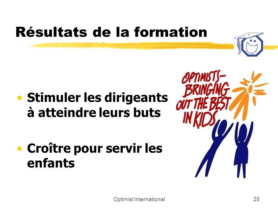 Optimist International25 Résultats de la formation Stimuler les dirigeants à atteindre leurs buts Croître pour servir les enfants