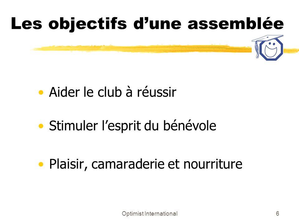 Optimist International6 Les objectifs dune assemblée Aider le club à réussir Stimuler lesprit du bénévole Plaisir, camaraderie et nourriture