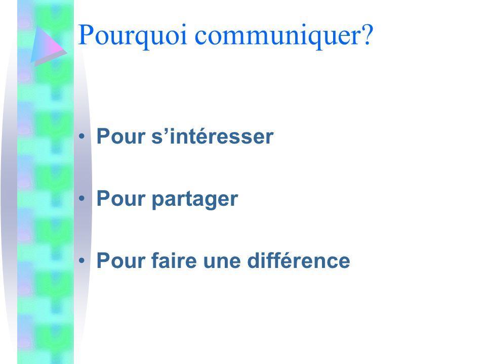 Pour sintéresser Pour partager Pour faire une différence Pourquoi communiquer