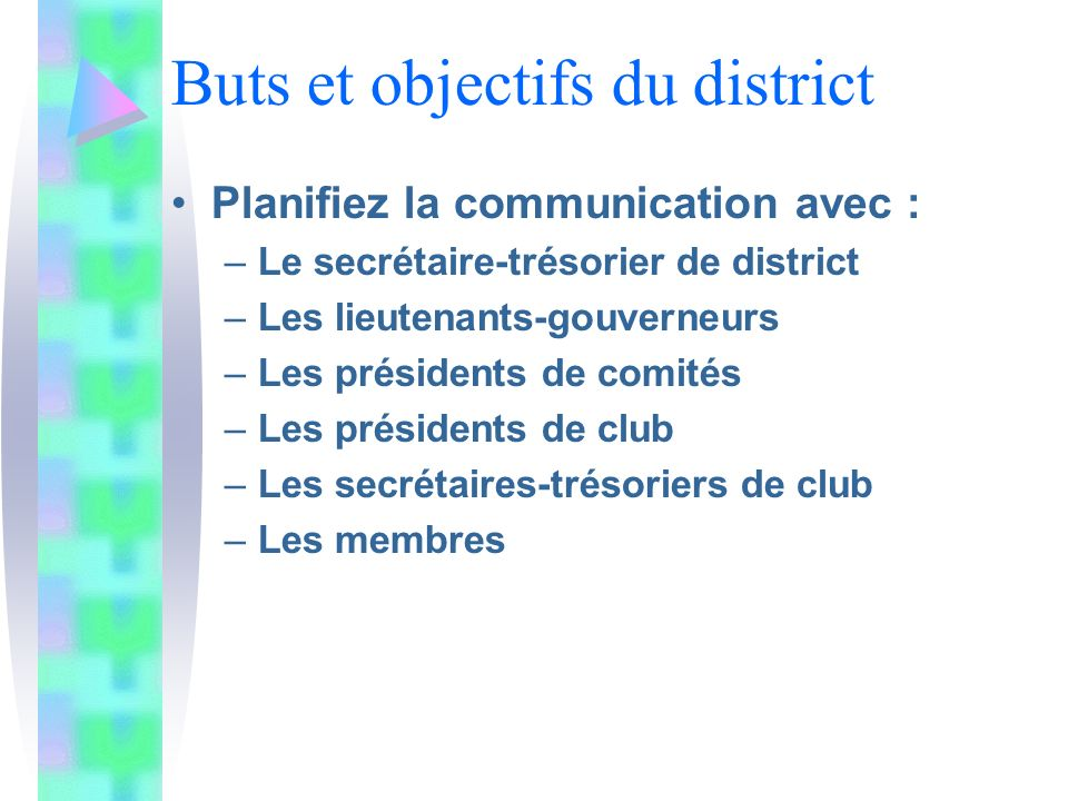 Buts et objectifs du district Planifiez la communication avec : –Le secrétaire-trésorier de district –Les lieutenants-gouverneurs –Les présidents de comités –Les présidents de club –Les secrétaires-trésoriers de club –Les membres