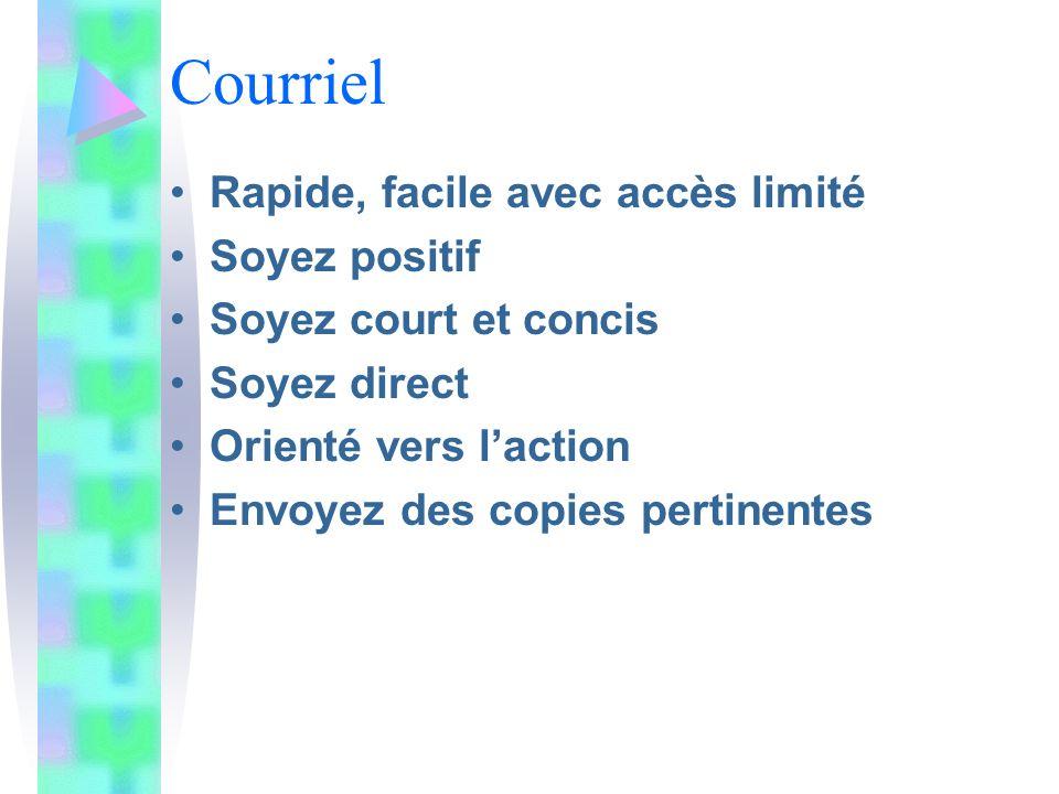 Courriel Rapide, facile avec accès limité Soyez positif Soyez court et concis Soyez direct Orienté vers laction Envoyez des copies pertinentes
