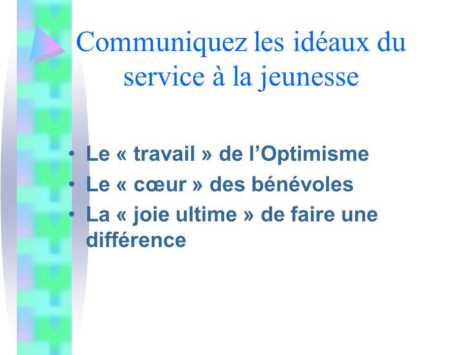 Communiquez les idéaux du service à la jeunesse Le « travail » de lOptimisme Le « cœur » des bénévoles La « joie ultime » de faire une différence