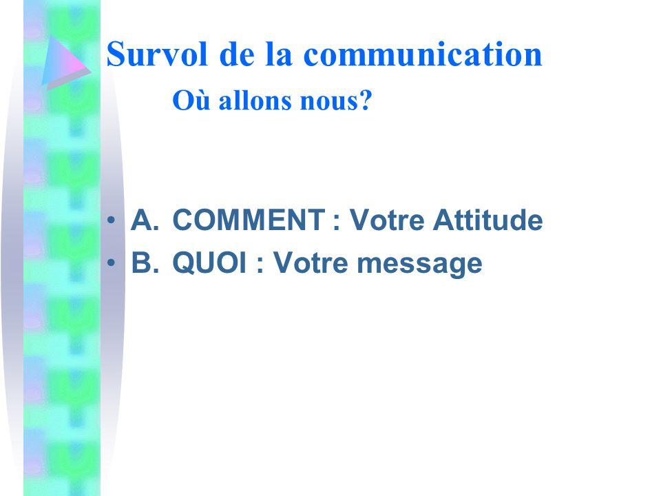 Survol de la communication Où allons nous A.COMMENT : Votre Attitude B. QUOI : Votre message