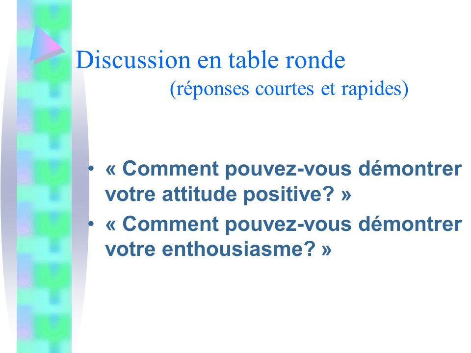 Discussion en table ronde (réponses courtes et rapides) « Comment pouvez-vous démontrer votre attitude positive.