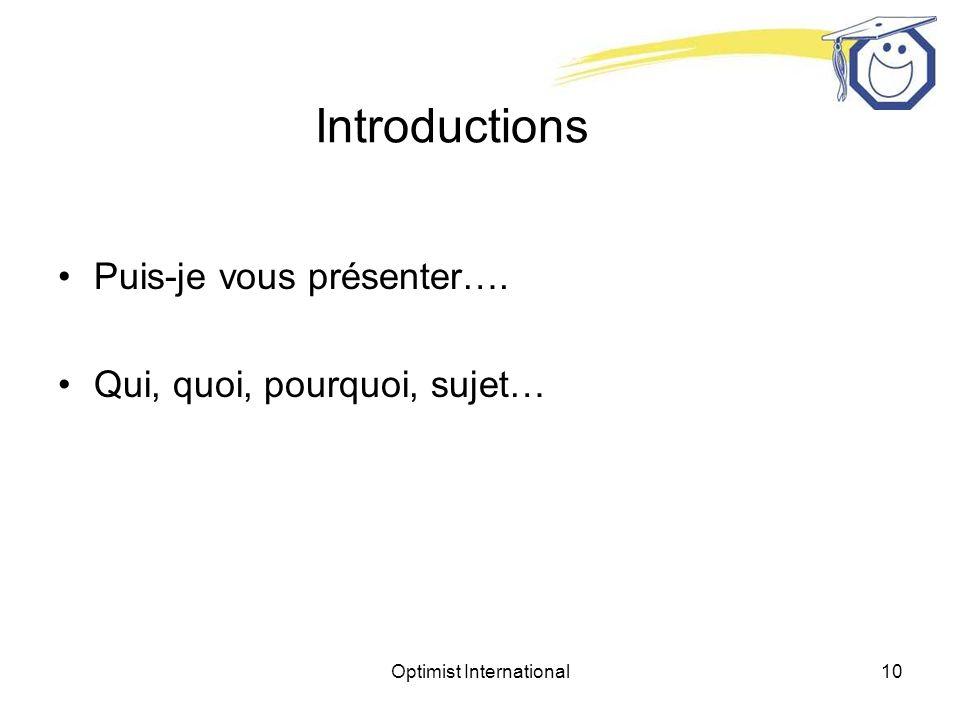 Optimist International10 Introductions Puis-je vous présenter…. Qui, quoi, pourquoi, sujet…