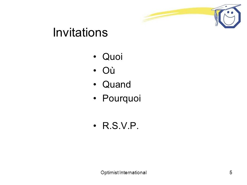 Optimist International5 Invitations Quoi Où Quand Pourquoi R.S.V.P.
