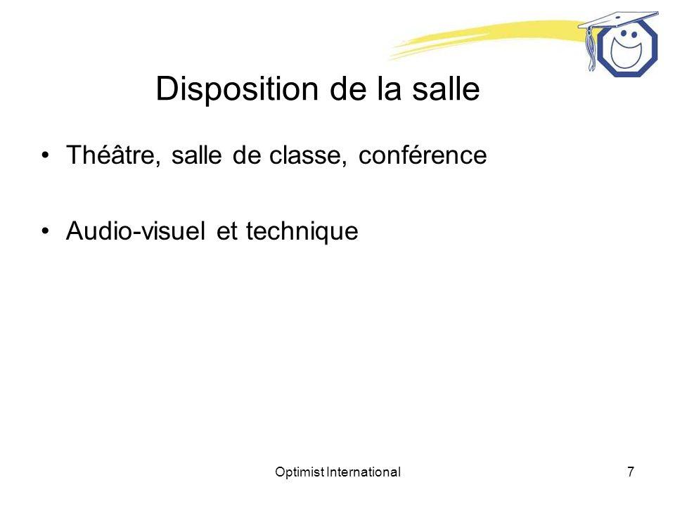 Optimist International7 Disposition de la salle Théâtre, salle de classe, conférence Audio-visuel et technique