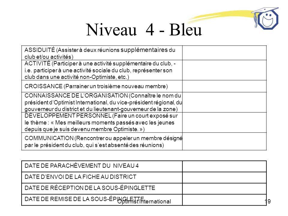 Optimist International19 Niveau 4 - Bleu ASSIDUITÉ (Assister à deux réunions supplémentaires du club et/ou activités) ACTIVITÉ (Participer à une activité supplémentaire du club, - i.e.