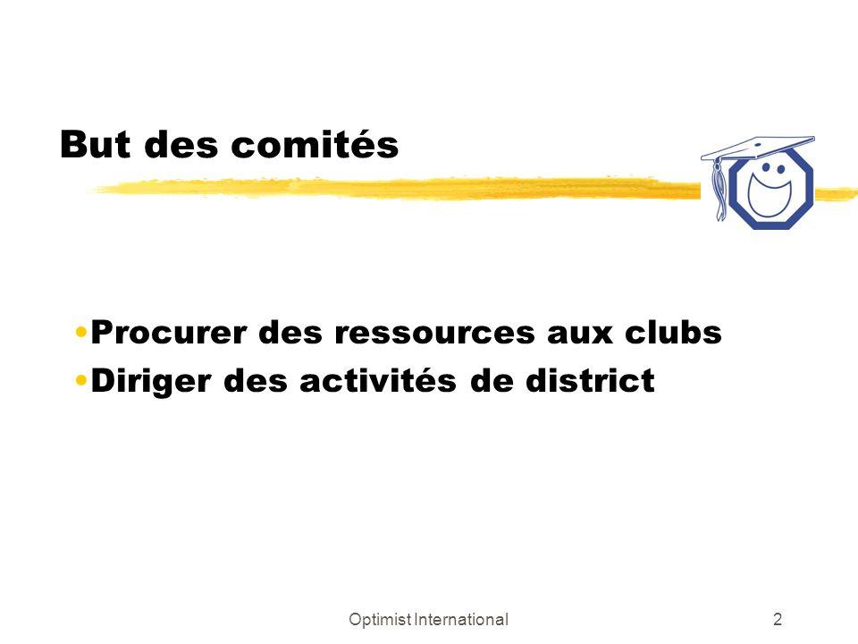 Optimist International2 But des comités Procurer des ressources aux clubs Diriger des activités de district