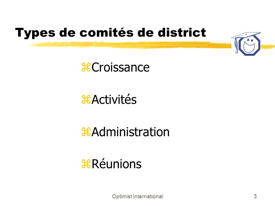 Optimist International3 Types de comités de district zCroissance zActivités zAdministration zRéunions