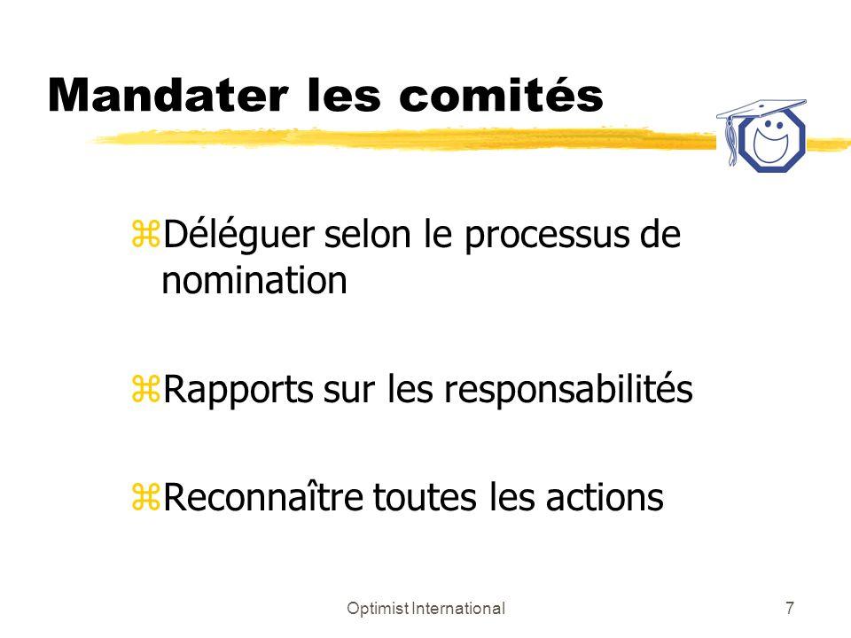 Optimist International7 Mandater les comités zDéléguer selon le processus de nomination zRapports sur les responsabilités zReconnaître toutes les actions