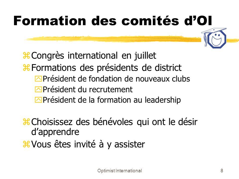 Optimist International9 Comités de district Nommer et mandater Fin