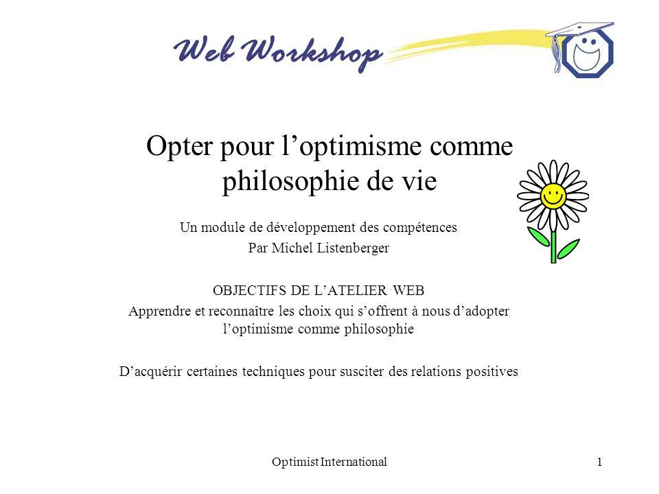 Web Workshop Optimist International12 Exercices daffirmation Transformez positivement ces monologues négatifs –Je ne suis pas bon pour me rappeler le nom des gens.