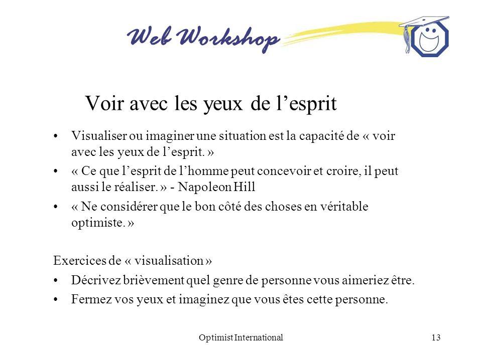Web Workshop Optimist International13 Voir avec les yeux de lesprit Visualiser ou imaginer une situation est la capacité de « voir avec les yeux de le