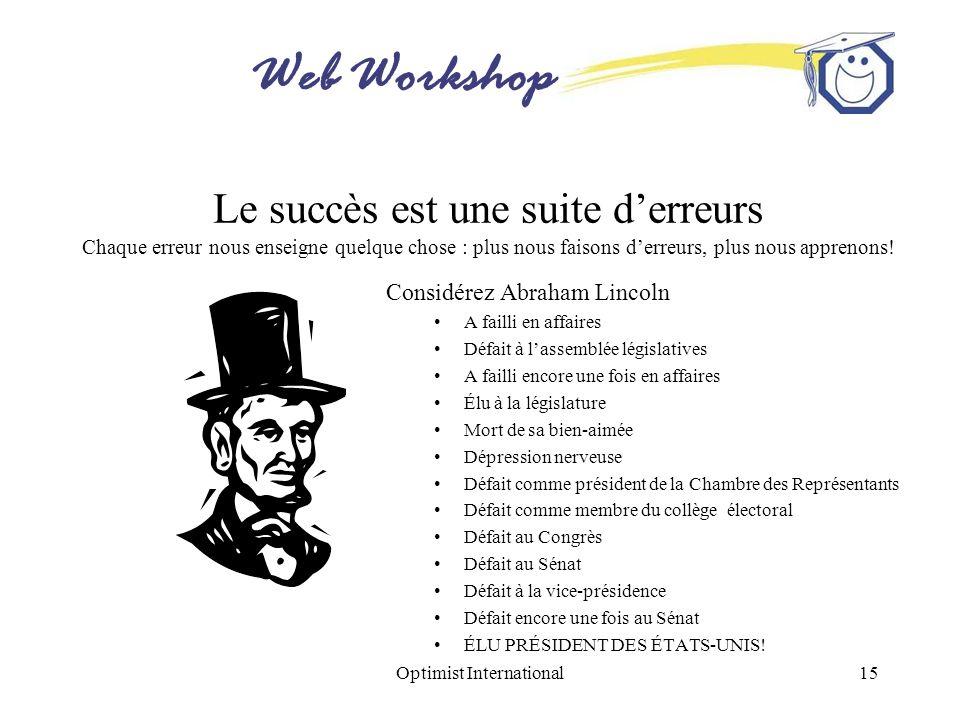 Web Workshop Optimist International15 Le succès est une suite derreurs Chaque erreur nous enseigne quelque chose : plus nous faisons derreurs, plus no