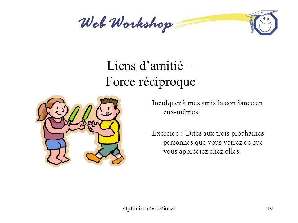 Web Workshop Optimist International19 Liens damitié – Force réciproque Inculquer à mes amis la confiance en eux-mêmes. Exercice : Dites aux trois proc
