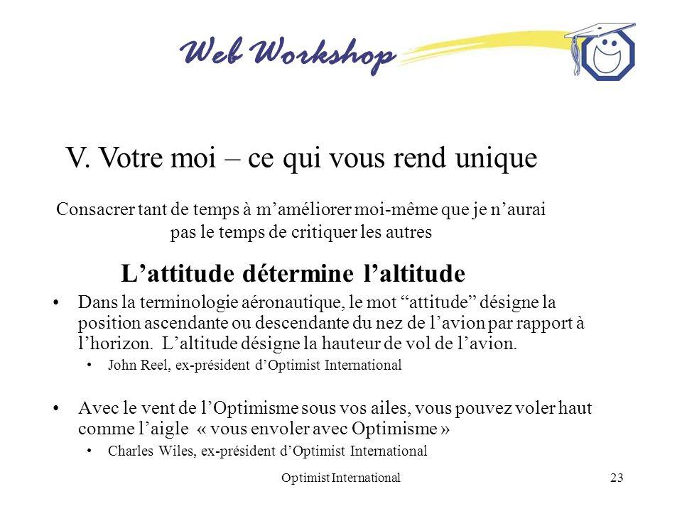 Web Workshop Optimist International23 Lattitude détermine laltitude Dans la terminologie aéronautique, le mot attitude désigne la position ascendante