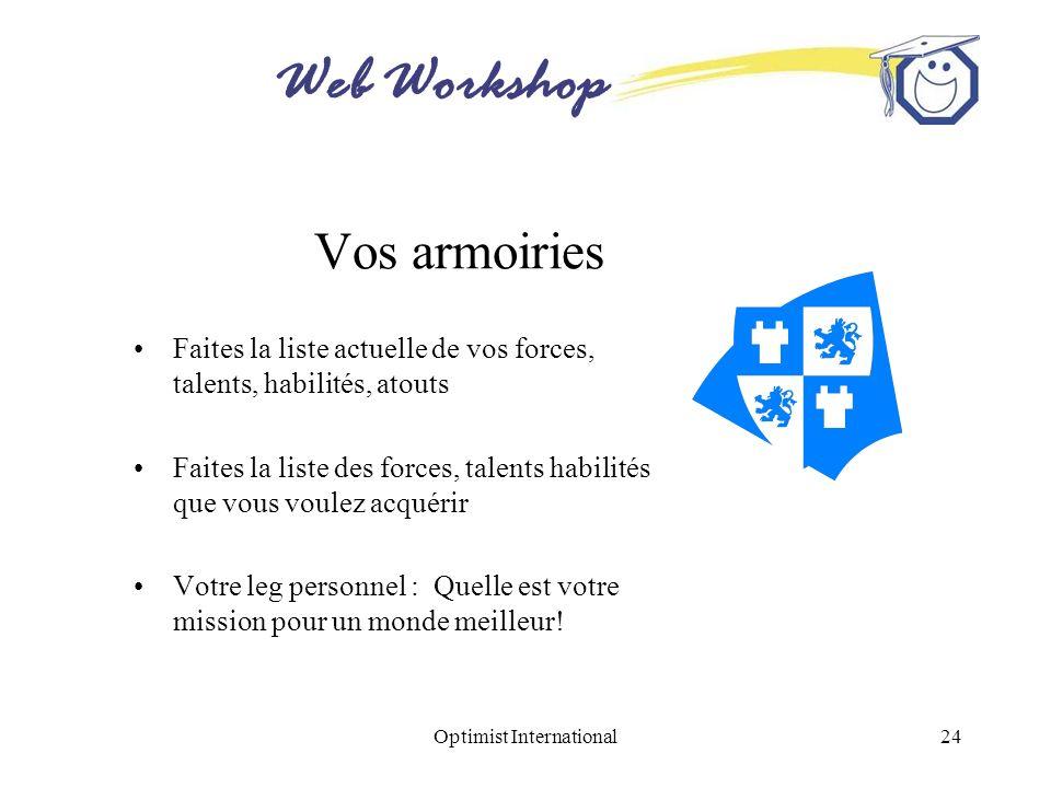 Web Workshop Optimist International24 Vos armoiries Faites la liste actuelle de vos forces, talents, habilités, atouts Faites la liste des forces, tal