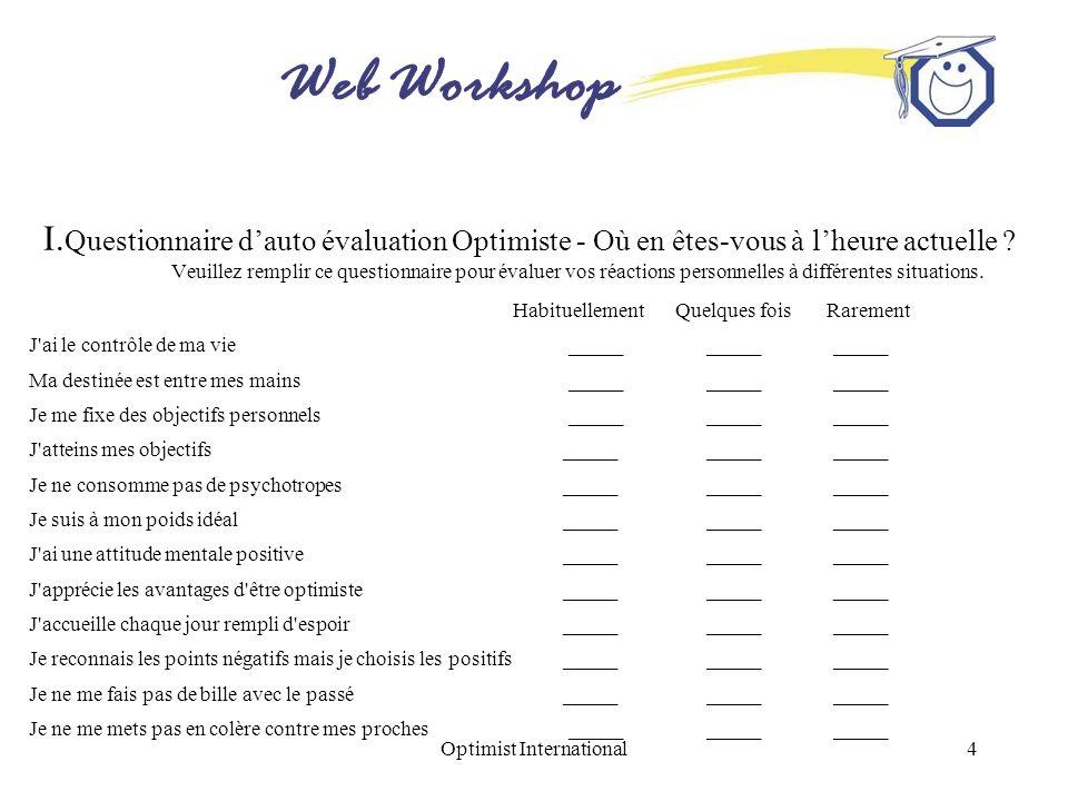 Web Workshop Optimist International4 I. Questionnaire dauto évaluation Optimiste - Où en êtes-vous à lheure actuelle ? Veuillez remplir ce questionnai