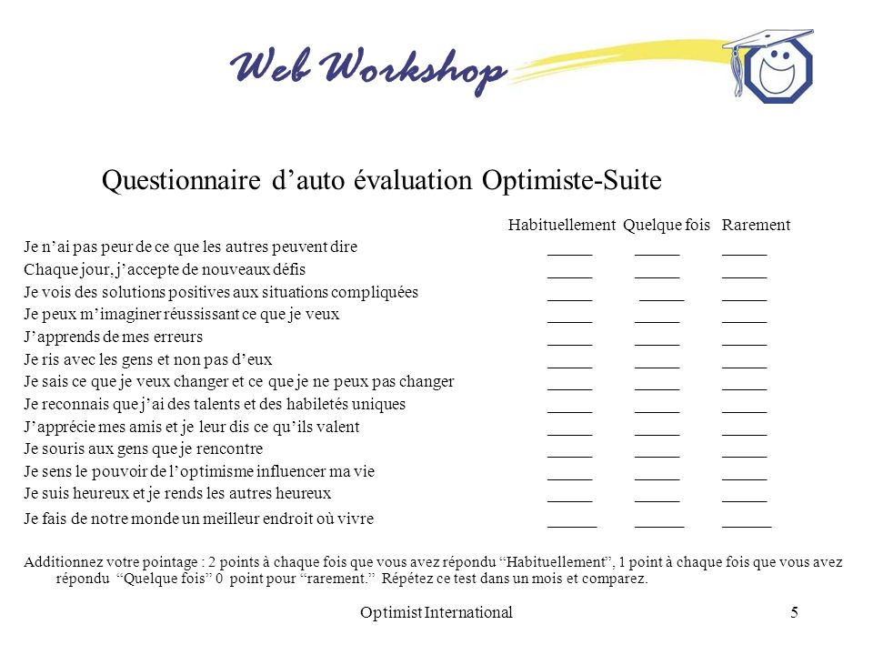 Web Workshop Optimist International5 Questionnaire dauto évaluation Optimiste-Suite Habituellement Quelque fois Rarement Je nai pas peur de ce que les