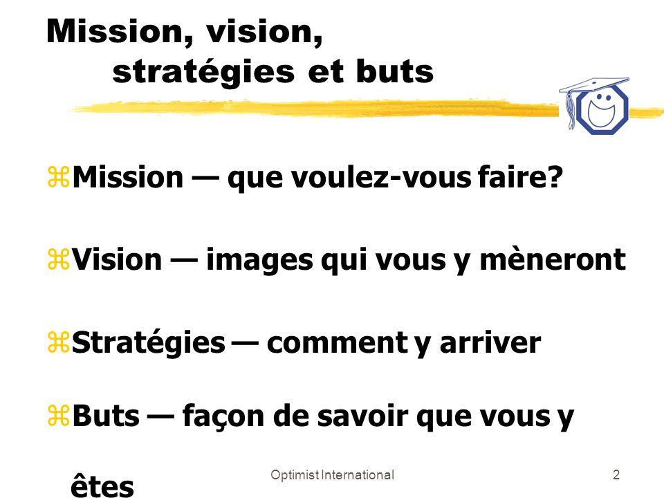 Optimist International2 Mission, vision, stratégies et buts zMission que voulez-vous faire? zVision images qui vous y mèneront zStratégies comment y a