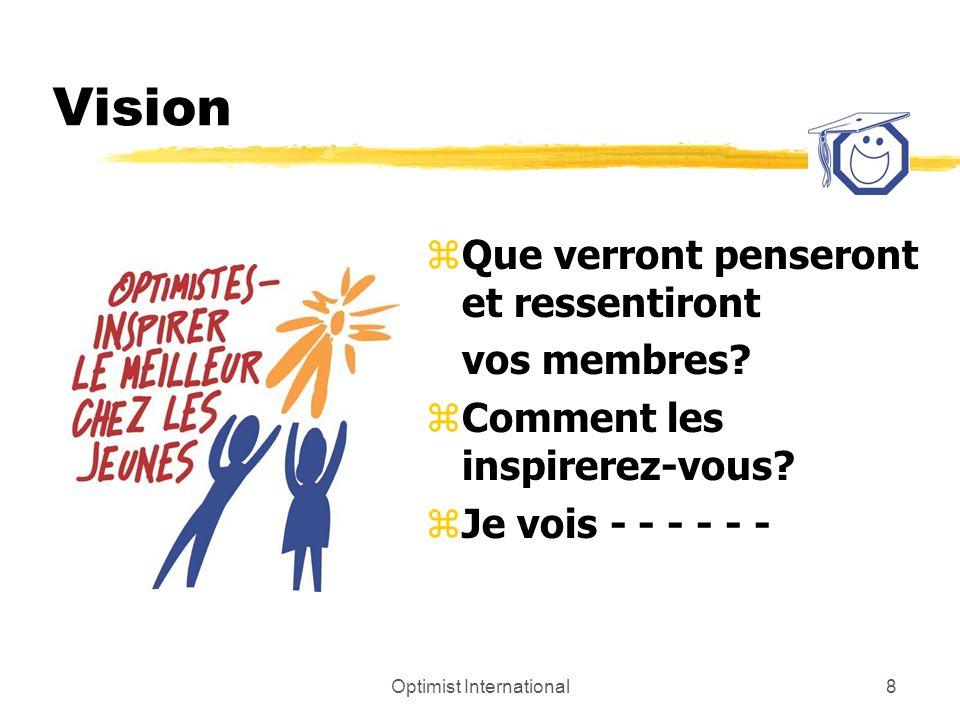 Optimist International8 Vision z Que verront penseront et ressentiront vos membres? z Comment les inspirerez-vous? z Je vois - - - - - -