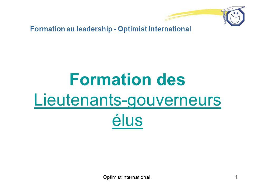 Optimist International1 Formation au leadership - Optimist International Formation des Lieutenants-gouverneurs élus