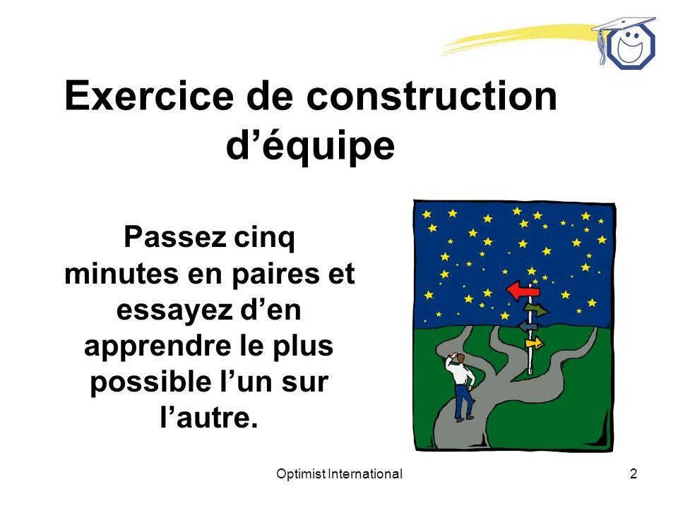Optimist International2 Exercice de construction déquipe Passez cinq minutes en paires et essayez den apprendre le plus possible lun sur lautre.