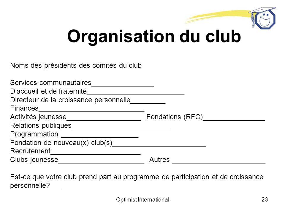 Optimist International22 Information sur le club Nombre de membres.