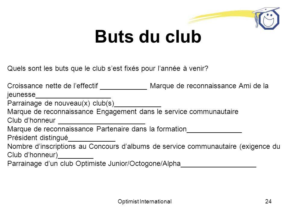 Optimist International23 Organisation du club Noms des présidents des comités du club Services communautaires________________ Daccueil et de fraternité_________________________ Directeur de la croissance personnelle_________ Finances___________________________ Activités jeunesse___________________ Fondations (RFC)________________ Relations publiques_________________________ Programmation ____________________ Fondation de nouveau(x) club(s)________________________ Recrutement_______________________ Clubs jeunesse______________________ Autres ________________________ Est-ce que votre club prend part au programme de participation et de croissance personnelle?___