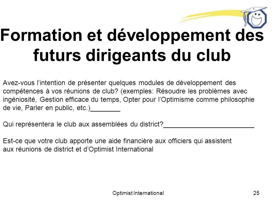 Optimist International24 Buts du club Quels sont les buts que le club sest fixés pour lannée à venir.