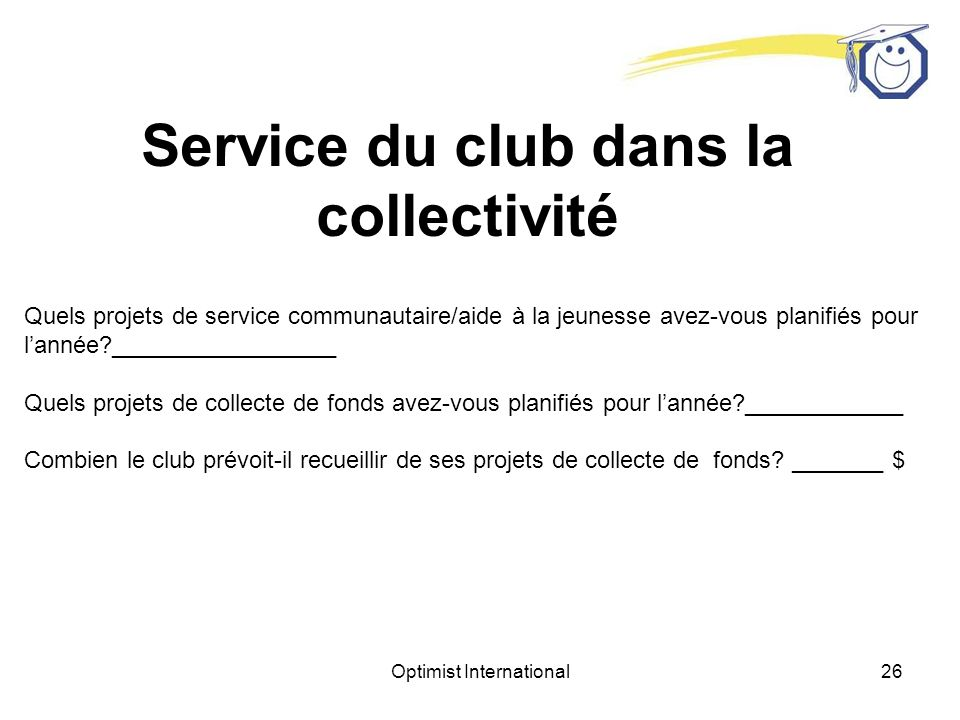 Optimist International25 Formation et développement des futurs dirigeants du club Avez-vous lintention de présenter quelques modules de développement