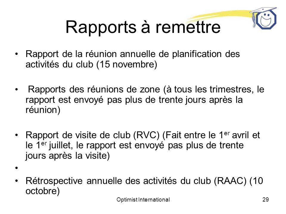 Optimist International28 Table ronde Vous appelez un président de club pour discuter de ses buts et pour fixer une date pour la RAPAC.