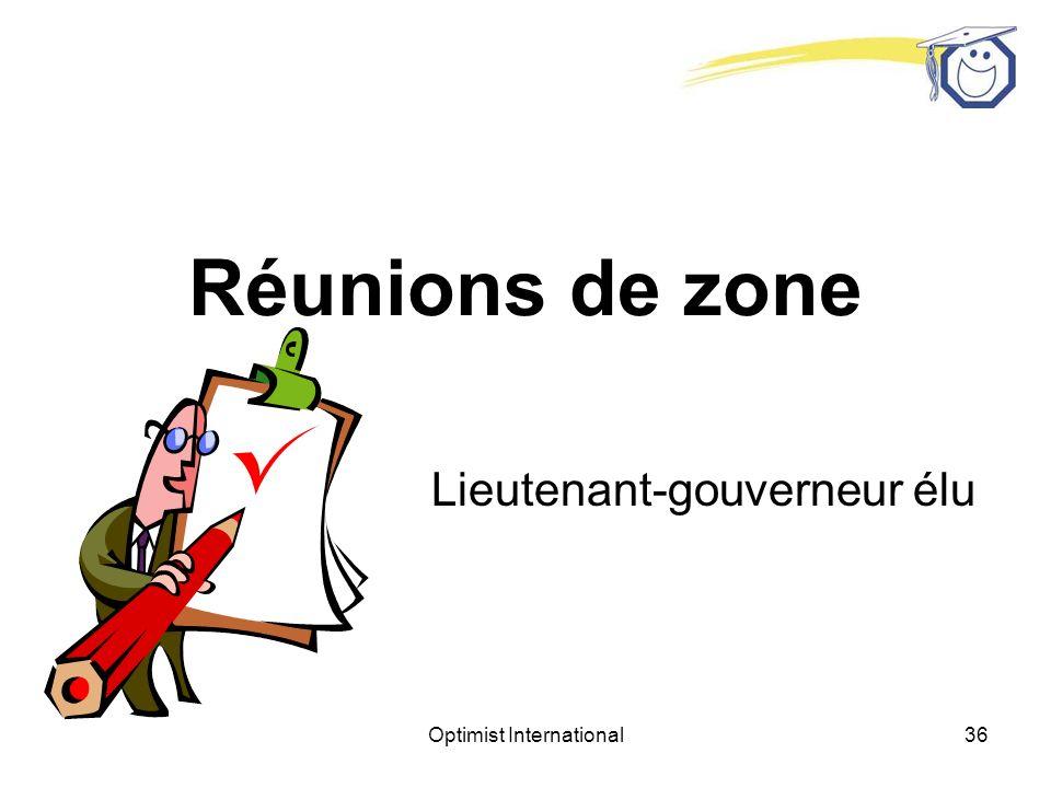 Optimist International35 Objectifs des réunions de zone Lieutenant-gouverneur élu Quest-ce que vous voulez accomplir.
