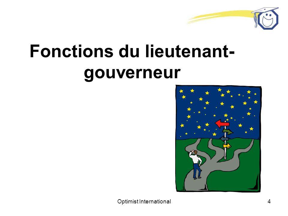 Optimist International64 Fondation de nouveaux clubs Lieutenant-gouverneur élu