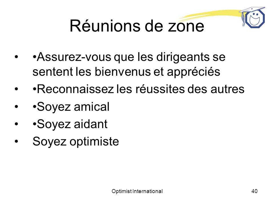 Optimist International39 Réunions de zone Invitez un président de comité de district à faire une présentation et la promotion de son domaine dexpertise lors dune réunion de zone.