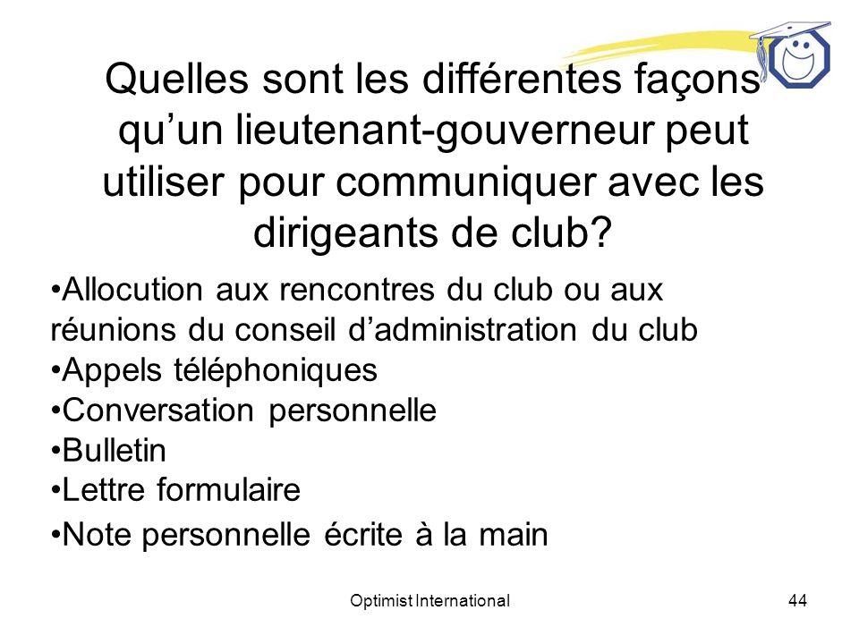 Optimist International43 Quelles sont les différentes façons quun lieutenant-gouverneur peut utiliser pour communiquer avec les dirigeants de club?
